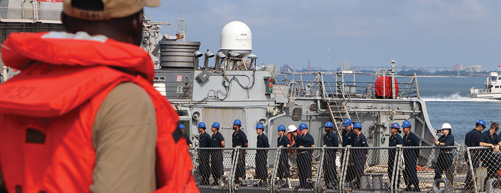 Sailors Man the Rails USS Mitscher
