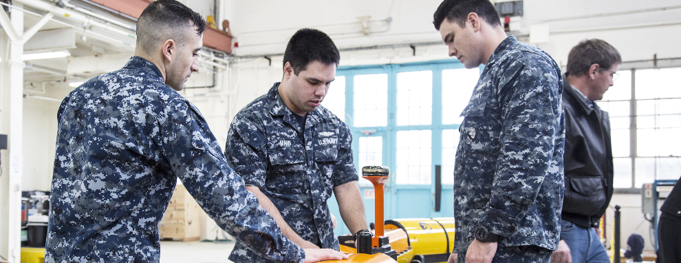 Sailors Working on UUV