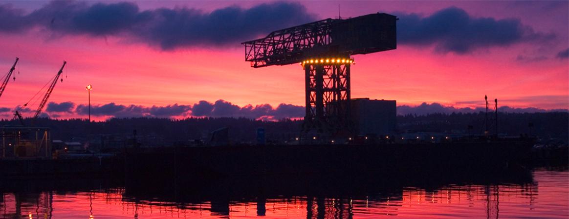 Hammerhead crane at sunrise