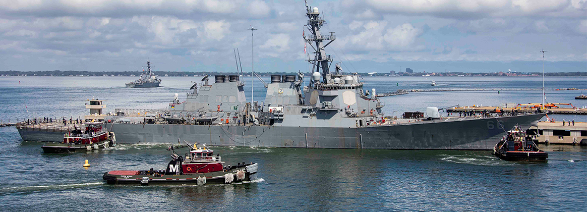 The Arleigh Burke-class guided-missile destroyer USS Gonzalez (DDG 66) departs Naval Station Norfolk.
