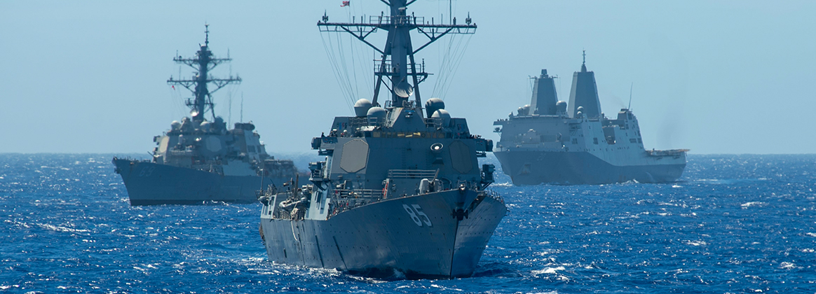 Arleigh Burke-class guided-missile destroyer USS McCampbell (DDG 85), the Arleigh Burke-class guided-missile destroyer USS Milius (DDG 69), and the amphibious transport dock ship USS Green Bay (LPD 20)