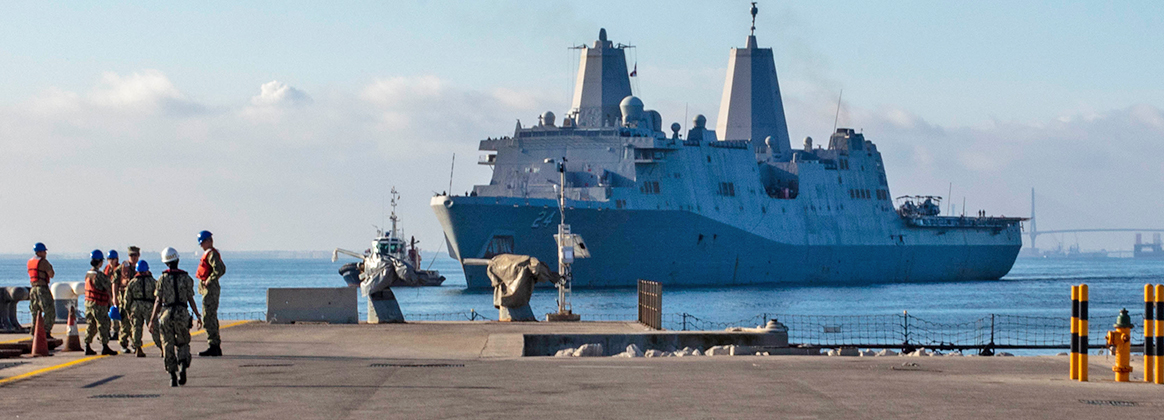 The San Antonio-class amphibious transport dock ship USS Arlington (LPD 24) pulls into Naval Station Rota, Spain, June 26, 2019.