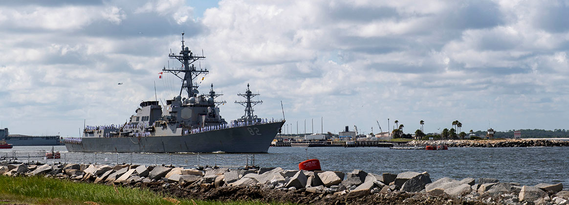 AYPORT, Fla. (Sept. 12, 2019) The Arleigh Burke-class guided-missile destroyer USS Lassen (DDG 82) departs Naval Station Mayport.