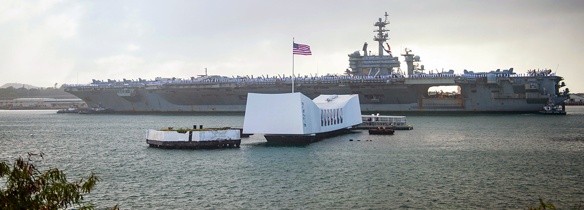 PEARL HARBOR (Jan. 8, 2020) The aircraft carrier USS Abraham Lincoln (CVN 72) passes the USS Arizona Memorial as it arrives at Joint Base Pearl Harbor-Hickam