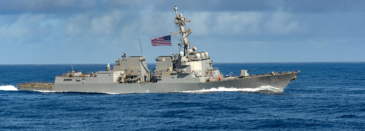 The Arleigh Burke-class guided-missile destroyer USS Pinckney (DDG 91) transits the Pacific Ocean, Jan. 22, 2020.