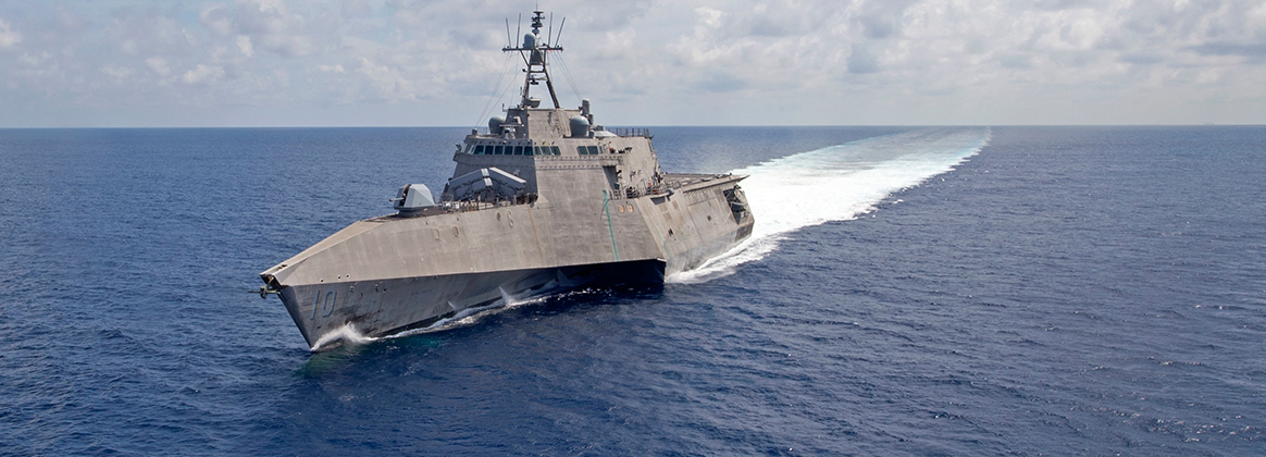 USS Gabrielle Giffords (LCS 10) patrols the South China Sea, March 20, 2020.