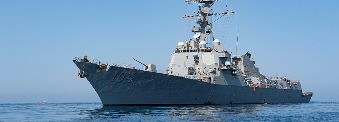The Arleigh Burke-class guided-missile destroyer USS Sterett (DDG 104) steams in the Gulf of Oman.