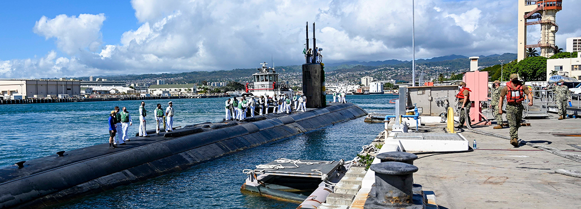 The Los Angeles-class fast-attack submarine USS Greeneville (SSN 772) returns home to Joint Base Pearl Harbor-Hickam