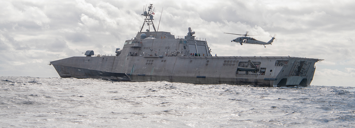 The Independence-variant littoral combat ship USS Gabrielle Giffords (LCS 10) transits the Pacific Ocean while conducting flight operations, Oct. 20, 2020.