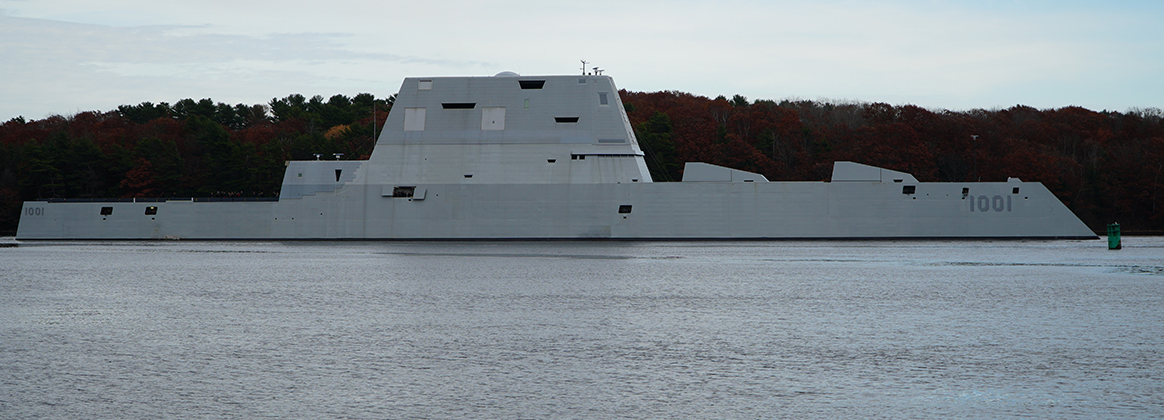 The future USS Michael Monsoor (DDG 1001) departs the Bath Iron Works shipyard.