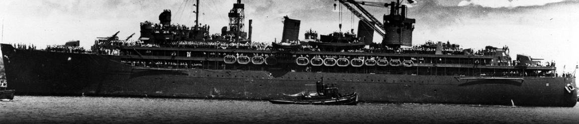 Image: USS Fulton (AS-11) arrives at Pearl Harbor with USS Yorktown (CV-5) survivors