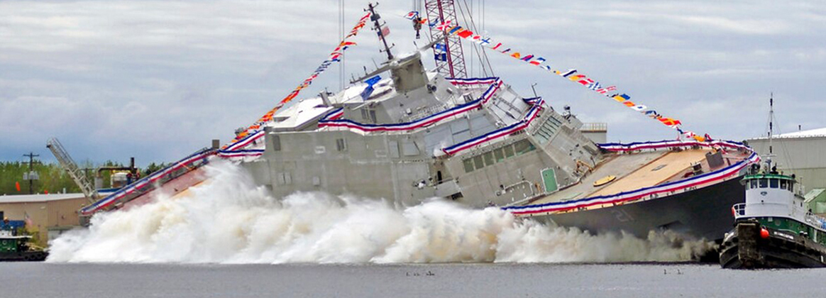 The U.S. Navy newest littoral combat ship Minneapolis-Saint Paul is launched into the Menominee River from Fincanteiri Marinette Marine in Marinette Wis.