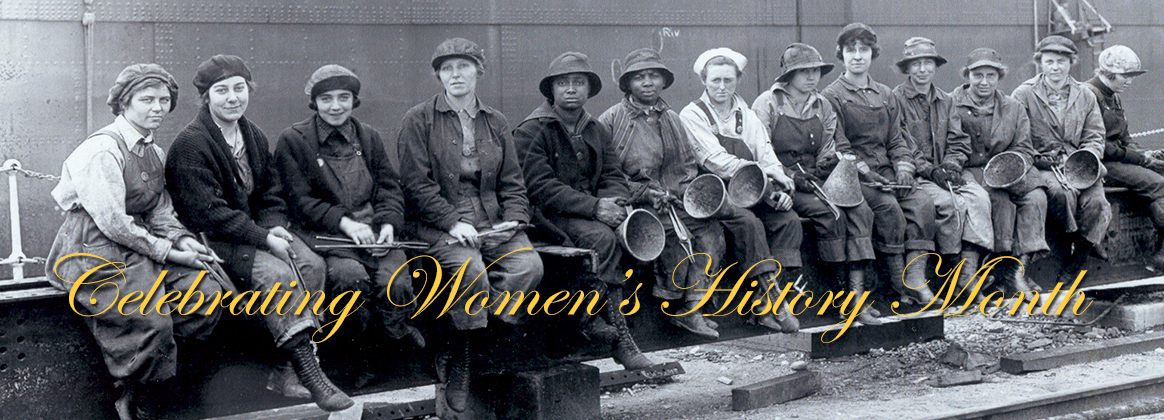 Image: This WWI photo of women working in industrial jobs traditionally filled by men, work as rivet heaters and passers on at Puget Sound Naval Shipyard.