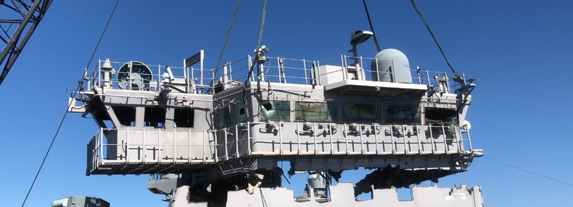 BHR Nav Bridge being lifted