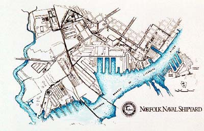 Map of the Norfolk Naval Shipyard