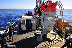 Members of the Deep Submergence Unit aboard the Military Sealift Command fleet ocean tug USNS Sioux (T-ATF 171) prepare to submerge a submarine rescue chamber during exercise CHILEMAR II. The exercise between the Chilean and U.S. Navy forces simulates submarine rescue operations. (U.S. Navy photo by Mass Communication Specialist 3rd Class Spencer Mickler/Released)